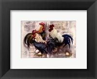 Framed Rooster Trio