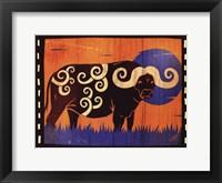 Framed Woodblock Buffalo
