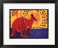 Framed Woodblock Kangaroo