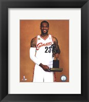 Framed LeBron James with the 2009-10 MVP Trophy