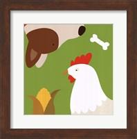 Framed Farm Group: Hen and Dog