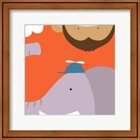 Framed Safari Group: Monkey and Elephant
