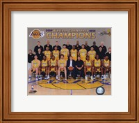 Framed 2009-10 Los Angeles Lakers Team Photo with Western Conference Champions Overlay