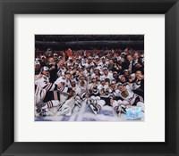 Framed 2009-10 Chicago Blackhawks Team Celebration on Ice
