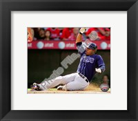 Framed Carl Crawford 2010 Action Sliding In To Base