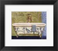 Framed Blue Botanical Bath II