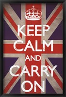 Framed Keep Calm & Carry On - Union Jack