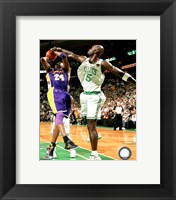 Framed Kevin Garnett Game Five of the 2009-10 NBA Finals Action (#12)