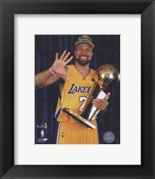Framed Derek Fisher with Championship Trophy in Studio (#28)