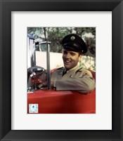 Framed Elvis Presley Sitting in Car Wearing Uniform (#3)