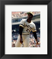 Framed Roberto Clemente Action