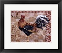 Framed Bergerac Rooster Red II - mini