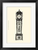 Framed Sm Antique Grandfather Clock I
