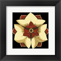 Framed Small Floral Mandala on Red III (P)