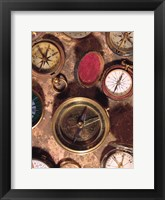 Framed Antique Compass Collage