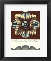 Framed Aqua & Brown Rosette IV