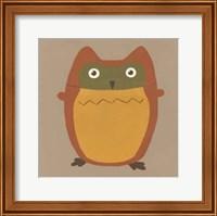 Framed Earth-Tone Owls I