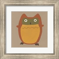 Framed Earth-Tone Owls I