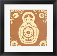 Framed Russian Doll in Orange