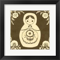 Framed Russian Doll in Brown