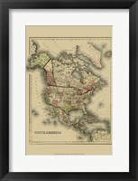 Framed Small Antique Map of N. America (P)