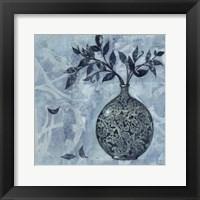 Ornate Vase with Indigo Leaves I Framed Print