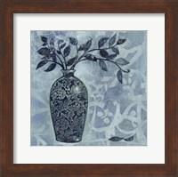 Framed Ornate Vase with Indigo Leaves II