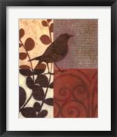 Damask Sparrow Framed Print