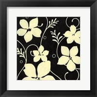 Framed Black with Cream Flowers