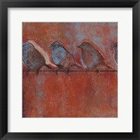 Framed Row of Sparrows I