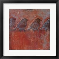 Framed Row of Sparrows II