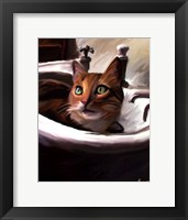 Framed Orange Cat in the Sink