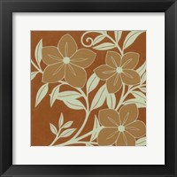 Framed Tan Flowers with Mint Leaves I