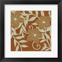 Framed Tan Flowers with Mint Leaves II