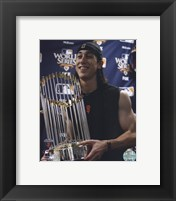 Framed Tim Lincecum With World Series Trophy Game Five of the 2010 World Series