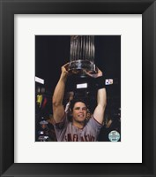 Framed Buster Posey With World Series Trophy Game Five of the 2010 World Series