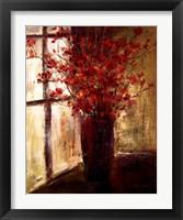 Framed Vase of Red Flowers