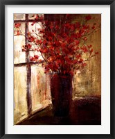 Framed Vase of Red Flowers