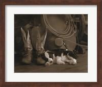 Framed Cowboy Puppy