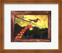 Framed Brown Giraffe with Bird