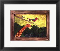Brown Giraffe with Bird Framed Print