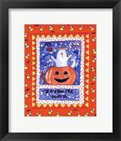 Halloween Ghost Orange Framed Print