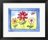 Framed Blue Flower Land
