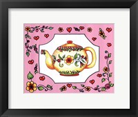 Framed Teapot with Pink Coral Floral