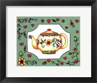 Framed Teapot with Green Floral
