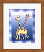 Framed Two by Two Blue - Giraffe