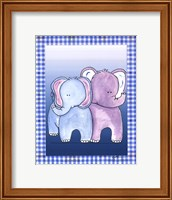 Framed Two by Two Blue - Elephant