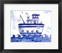 Framed Blue Tugboat