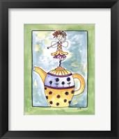 Purple Flower Teapot Fairy Framed Print
