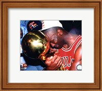 Framed Michael Jordan Game 5 of the 1991 NBA Finals with Championship Trophy